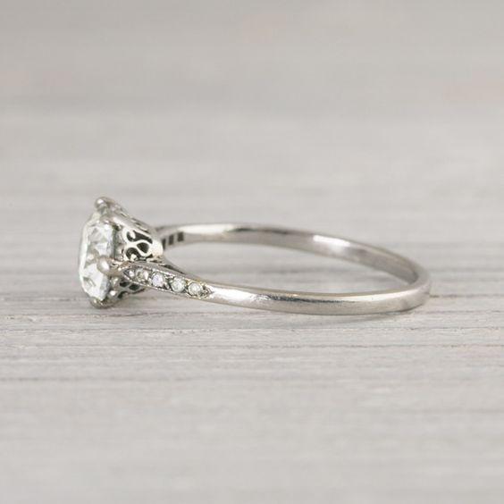 1 Carat Cushion Cut Vintage Engagement Ring | Vintage & Antique ...