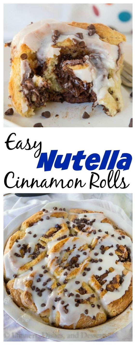 Easy Nutella Cinnamon Rolls – Cinnamon rolls that are ready in less than 60 minutes and filled with chocolate-y Nutella.
