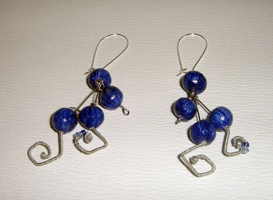wire earrings with clay beads
