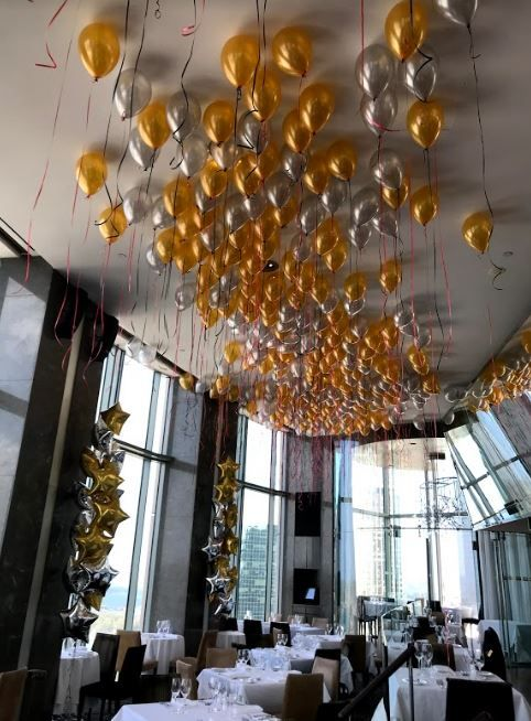 Loose Ceiling Balloons Gold And Silver Gold Theme Party Black
