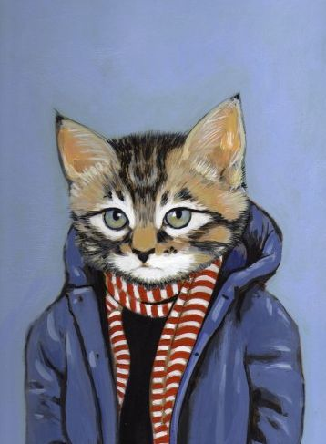 """""""Move over, da Vinci. Cats off to Heather Mattoon, who's created a series of inspired prints of cats in dapper clothes. They even have attire-appropriate names!"""":"""
