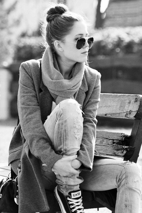 Love it all (top knot, glasses, scarf, blazer, freaking all-stars!) YES!