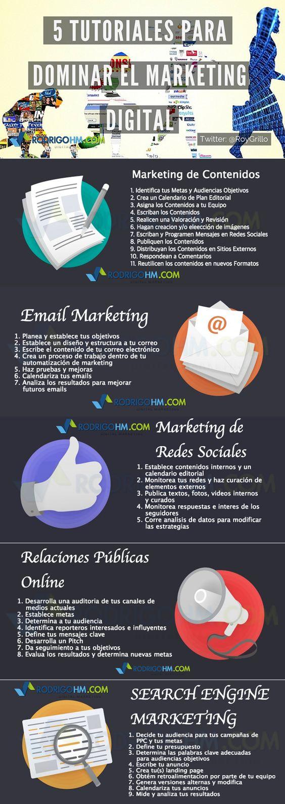 5 tutoriales para dominar el Marketing Online #infografia #infographic #marketing