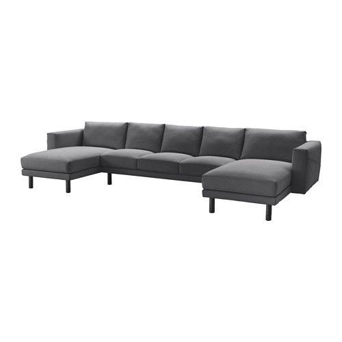 NORSBORG 3er-Sofa mit 2 Récamieren - grau, Finnsta dunkelgrau - IKEA