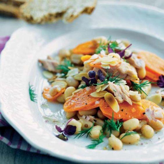Ensalada de alubias con atún y almendras #recetas #vidasana