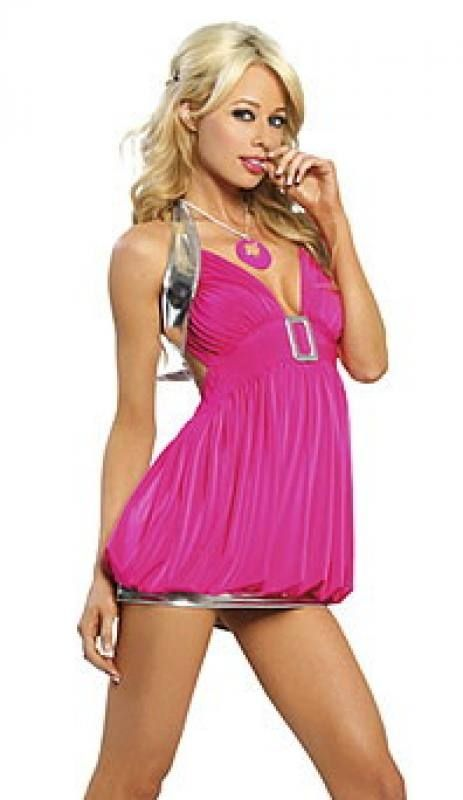 #Sexy #Minikleid, bestehend aus einem rückenfreien Neckholder-Ballon-Top mit einer großen Schnalle und einem silbernen #Minirock.