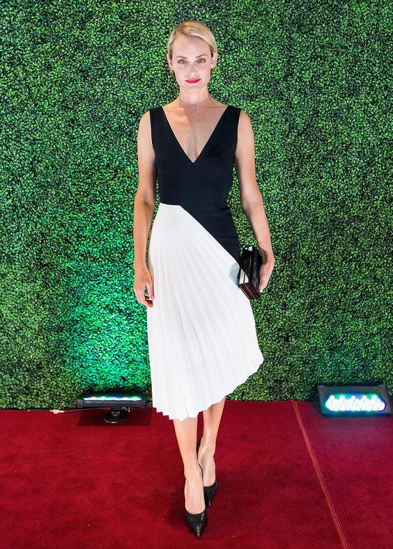 Amber valletta, Amber and White pleated skirt on Pinterest