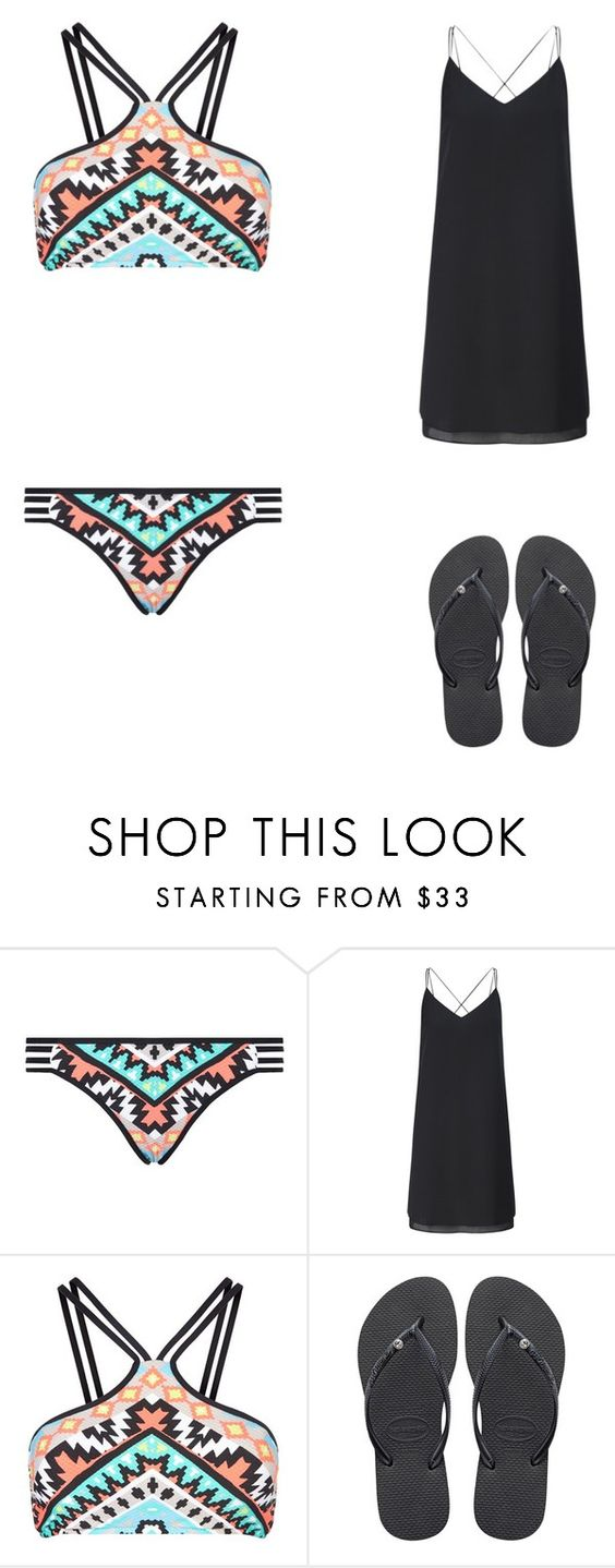 """""""swim"""" by sarahmickie on Polyvore featuring Seafolly, Miss Selfridge and Havaianas"""