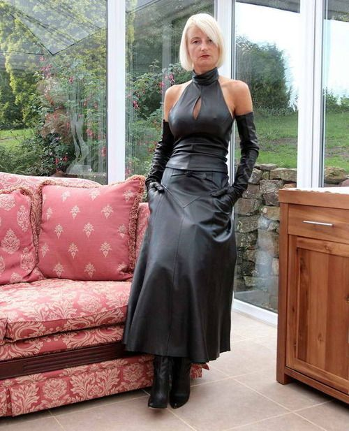 Long leather dress with long gloves  GOING SHOPPING!!  Pinterest ...