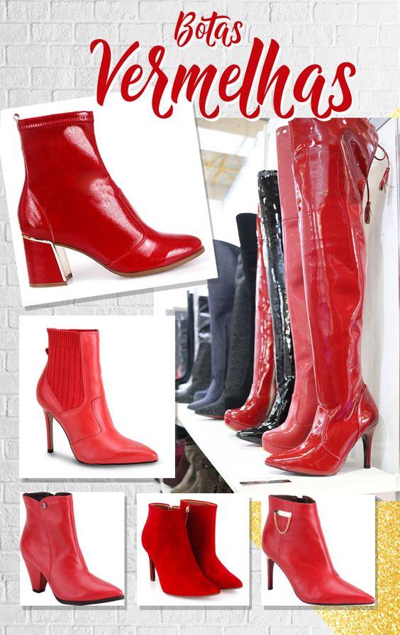 Bota Vermelha é o grande hit do inverno de 2018 - Ela aparece em cano alto, cano médio, em Sock Boots, verniz e com aplicações.   É uma bota para deixar o look muito mais estiloso.
