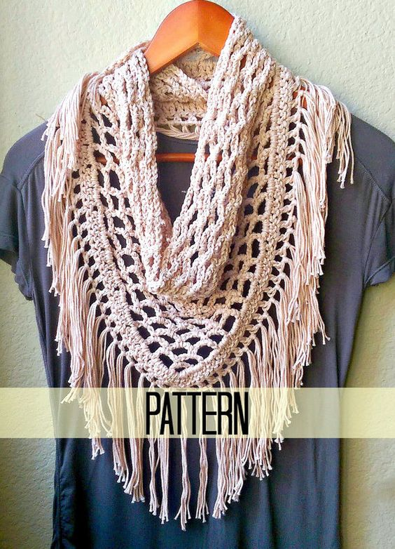 Crochet Scarf Pattern With Fringe : Triangle scarf, Crochet scarf patterns and Fringe scarf on ...