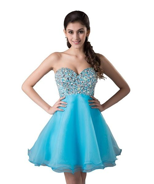 Light Blue Short Prom Dresses - ... Fashion Sweetheart Organza ...
