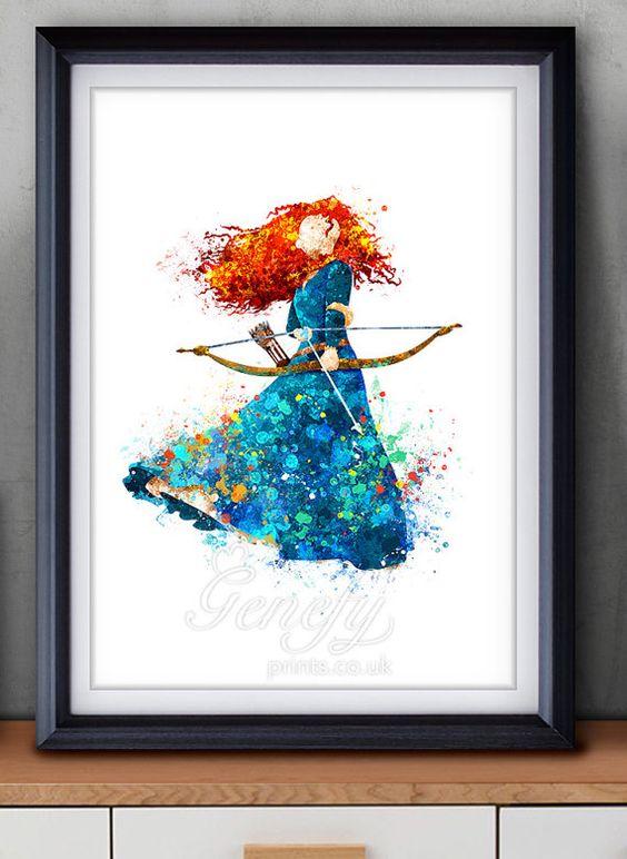 Disney Princess Merida, Brave Watercolor Poster Print - Watercolor Painting - Watercolor Art - Kids Decor- Nursery Decor
