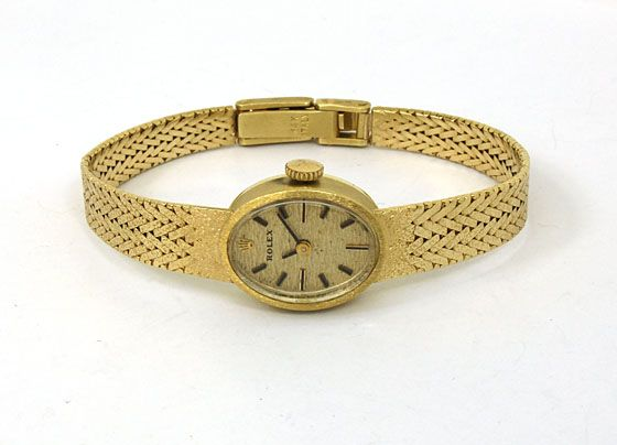 VINTAGE LADIES ROLEX 14K GOLD MESH BRACELET WRIST WATCH