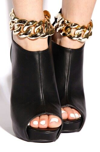 Black & gold chain heels | ♚KillR Heels♚ | Pinterest | Black ...