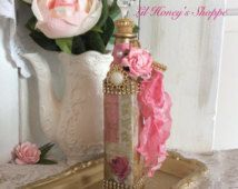 altered bottle, Paris, shabby chic, tall bottle, Eiffel Tower, gold & pink