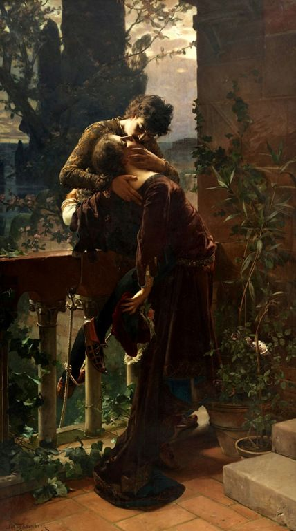 'Romeu e Julieta na Sacada' → Julius Fronberg -1850/1921 - Pintor Sueco.