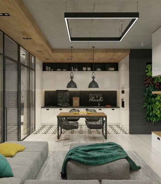 mur-beton-cuisine-armoires-blanches-crédence-peinture-ardoise-haut ...