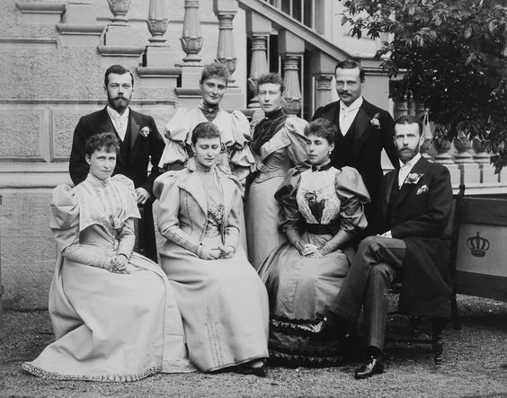 Group photograph taken during the wedding celebrations of Ernest Louis, Grand Duke of Hesse and Princess Victoria Melita of Saxe-Coburg and ...