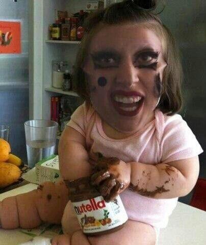 Lady gaga baby with nuttella