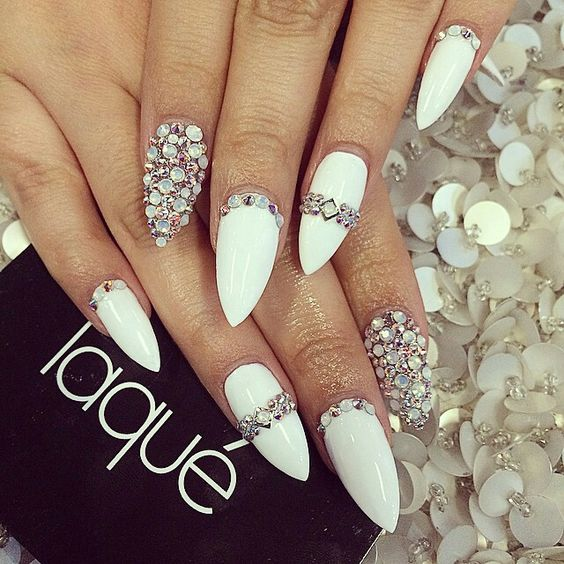 White Matte nail Designs - 14. white matte nails with nail rhinestones - 2018 50+ Hottest White Matte Nail Designs BeautyBigBang