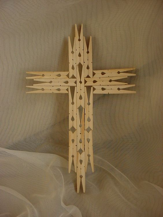 Tramp Folk Art Wooden Wall Cross 11 Inch Clothespins Naive Wood Handmade or use Mini Clothespins for Christmas Ornaments: