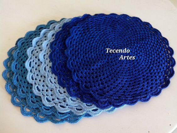 Tecendo Artes em Crochet: Sousplat Lindos em Tons de Azul!