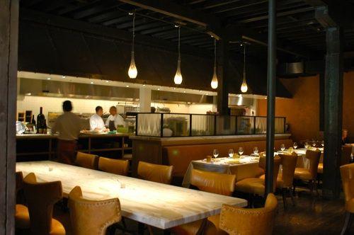 Love this Restaurant Look in CA- Marble Tables Dark Ceilings