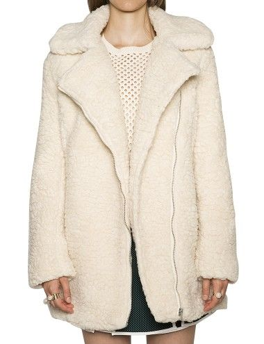 Ivory Shearling Coat - White Faux Fur Coats - Borg Coat -$138