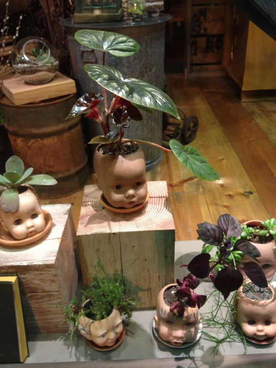 Doll Heads As Planters Things Made Pinterest Love