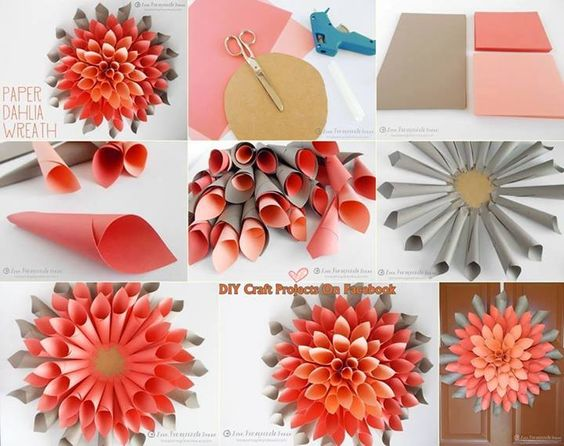 DIY Paper Dahlia Wreath.