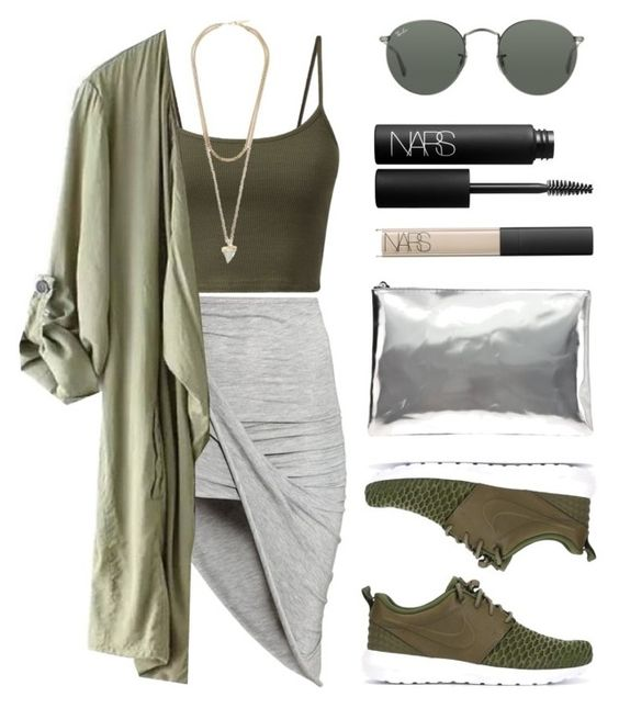 """""""Greens"""" by baludna ❤ liked on Polyvore featuring H&M, Ray-Ban, Givenchy, NIKE, AB A Brand Apart and NARS Cosmetics"""