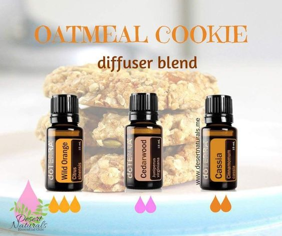 Oatmeal cookies! Yummy!! Have the fresh baked cookie smell without actually baking! Yes, please!! This diffuser blend uses the essential oils of wild orange, Cedarwood and Cassia. These doterra essential oils smell delicious and will also help relax the m