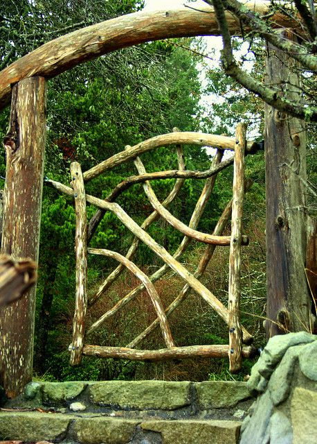 Natural wood gate