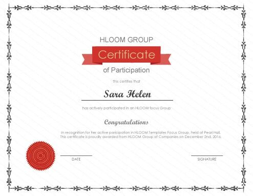 Free Certificate Template By Hloom Com Certificate Of Participation Template Certificate Templates Free Certificate Templates