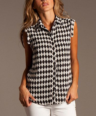 Look what I found on #zulily! Black & White Diamond Sleeveless Button-Up by ravel #zulilyfinds