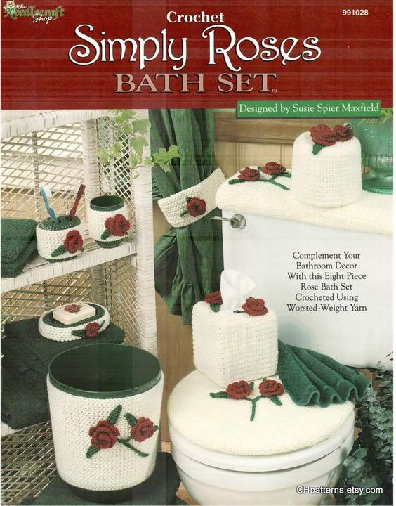 Simply Roses Bath Set crochet patterns by Susie Spier Maxfield, crocheted rose bathroom toilet accessory covers, Needlecraft Shop 991028   $6.99
