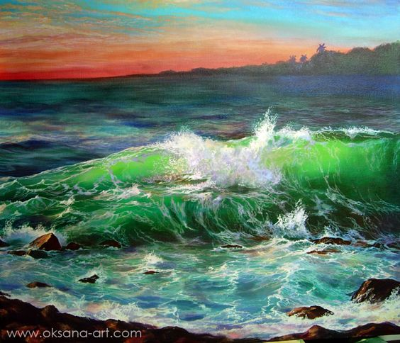 """Esmeralda"" - Painting, Hurricane, Ocean, Sea, Surf, Storm, Wave, Curl, Night, Midnight, Star, Moon, Moonlight, Cosmic, Spiritual, Wisdom, Passion, Compassion, Thought, Enlightenment, Evening, Night, Dream, Cosmos, Vision, Divine, Gift, Tear, Dew, Strong, Strength, Island, Heaven, Paradise, Hawaii, Tahiti, Cook islands, Polynesia, Fiji, Caribbean, Luxury, Travel, Exotic"