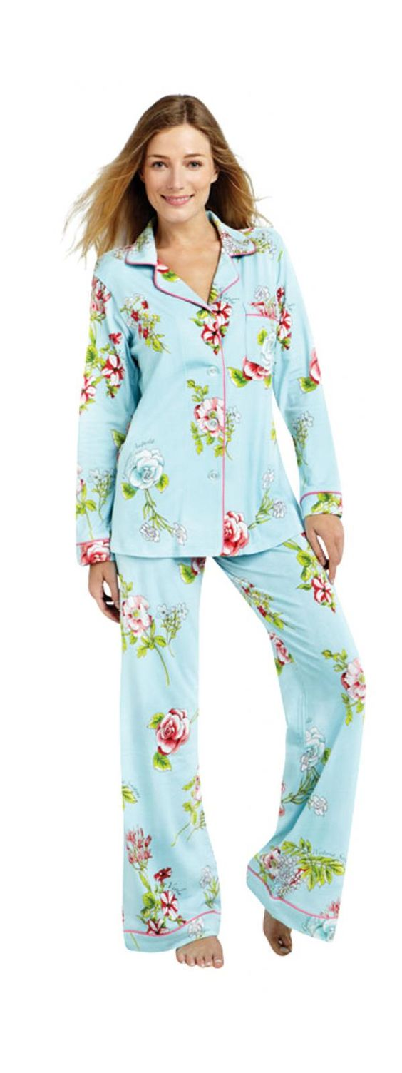 Bedhead Aqua New York Botanical Classic Flannel Pjs for girls ...
