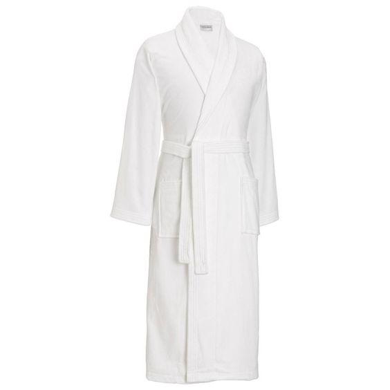 Derek Rose Triton 10 Pure Cotton Velour Dressing Gown - White | White Dressing Gown | KJ Beckett