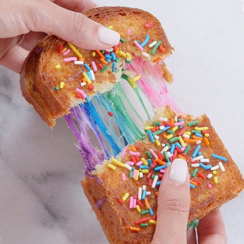 Obsessed with sprinkles just like Shimmer, who puts them on anything? Kids will love to eat this colorful sprinkle grilled cheese sandwich.