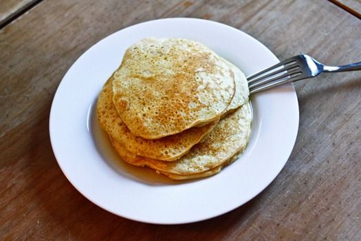 Paleo Protein Pancakes    Ingredients:    3 eggs  3 egg whites (or 3/4 cup liquid egg whites)  1/2 cup coconut flour  1/4 cup almond milk  1 tsp baking powder  1 tsp vanilla extract