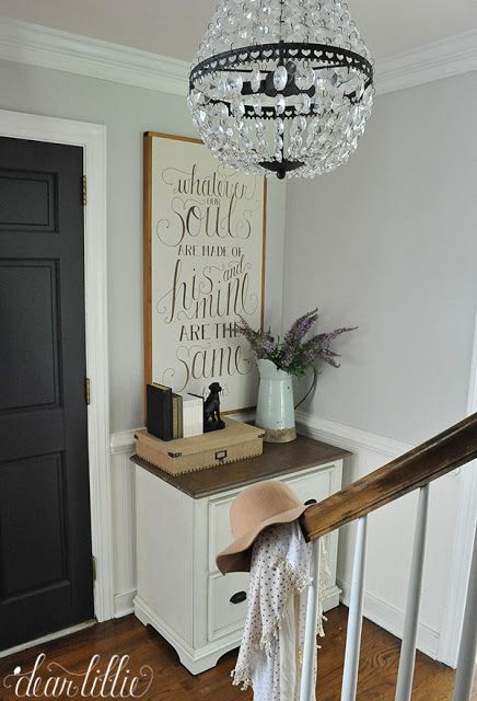 Wall color - Moonshine BM,  Door color Mopboard Black BM -by Dear Lillie