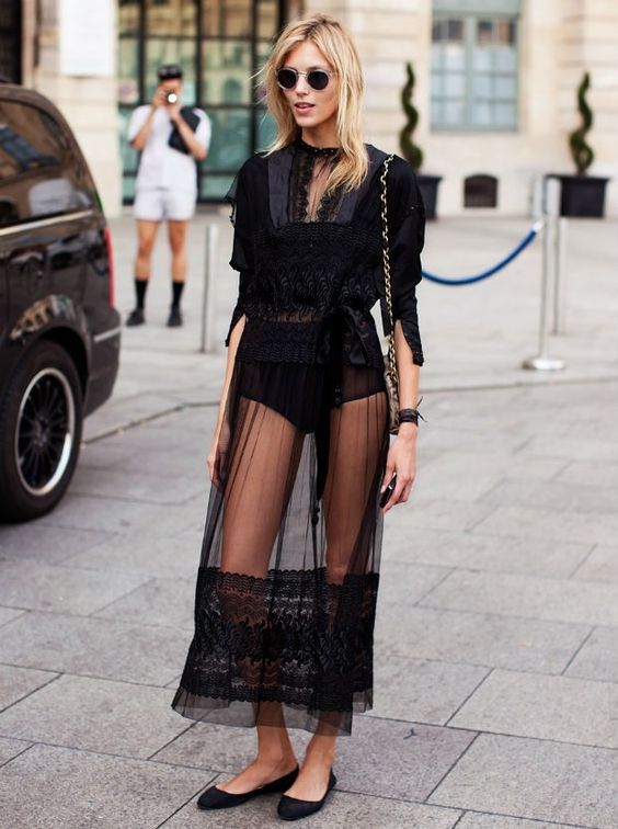 #streetstyle black lace I would most definitely wear something underneath