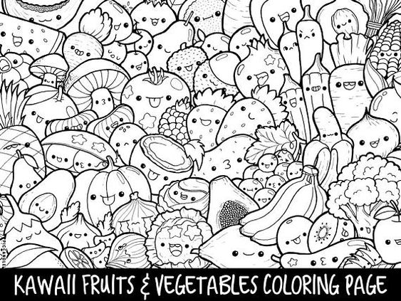 Fruits Vegetables Doodle Coloring Page Printable Cute Kawaii Coloring Page For Kids And Adults Mermaid Coloring Pages Doodle Coloring Coloring Pages