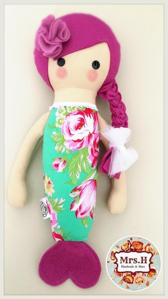 Handmade Merbaby dollCe marked and suitable from birthHandwash onlyA Mrs.H Handmade