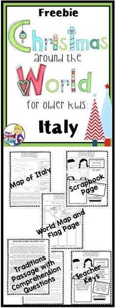 FREEBIE! This Christmas Around the World: Italy mini-unit integrates reading strategies and social studies concepts in a fun way for the month of December. Check out my complete Christmas Around the World for Older Kids unit with 12 countries and a research trifold project. Huge time-saver for you and it will keep your kids merry and bright!
