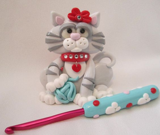 Cat Crochet Hook Holder Polymer Clay Crochet Hook by StarkyArt