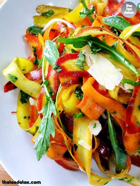 Rainbow Carrot Ribbon Salad!!  #detox
