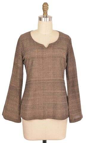Brown Linen Tunic Size S | ClosetDash #fashion #style #tops #blouse